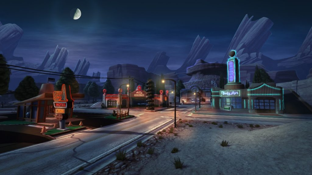 "In-game screenshot of Radiator Springs ""Cars III"" Level (2016)"